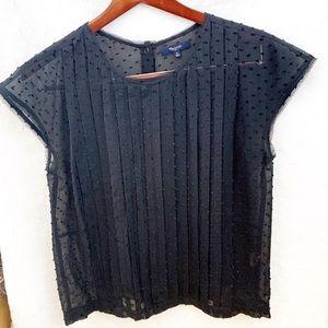 Madewell Silk Blouse sheer Navy Blue SZ:Medium